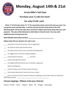 Jersey Mikes 2017 Order Form